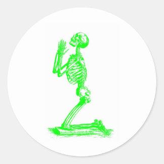 skeletongreen classic round sticker