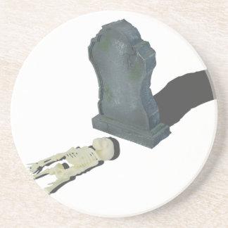 SkeletonLayingFrontHeadstone070315 Coaster