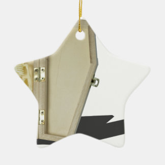 SkeletonLyingInCoffin070315 Ceramic Star Ornament