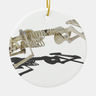 SkeletonProneSideways032215 Round Ceramic Ornament