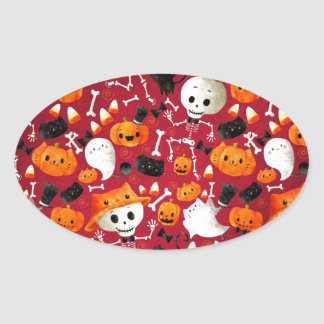 Skeletons and Pumpkins Pattern Oval Sticker