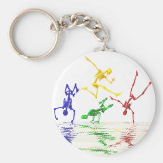 Skeletons breakdancing basic round button keychain