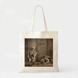 Skeletons custom name tote bags