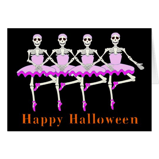 "Skeletons Dancing Ballet ""Happy Halloween"" Card"
