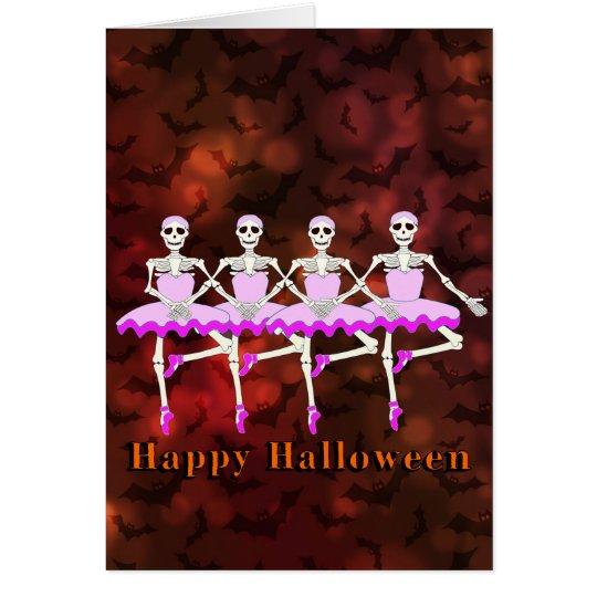 """Skeletons Dancing Ballet """"Happy Halloween"""" Card"""