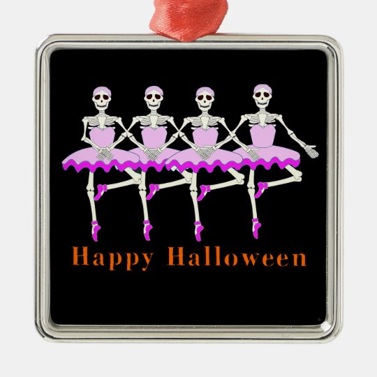 "Skeletons Dancing Ballet ""Happy Halloween"" Metal Ornament"