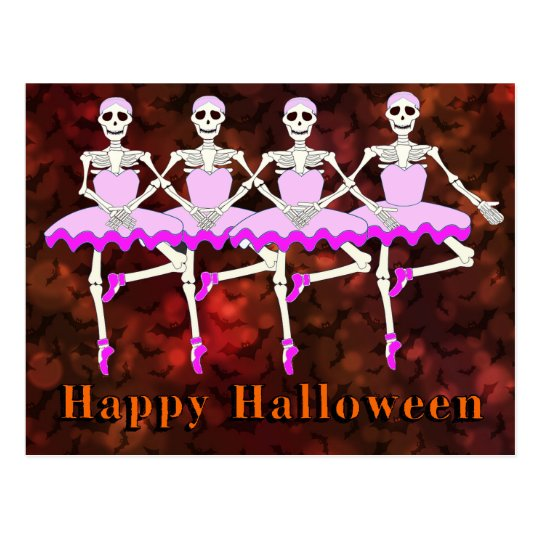 "Skeletons Dancing Ballet ""Happy Halloween"" Postcard"