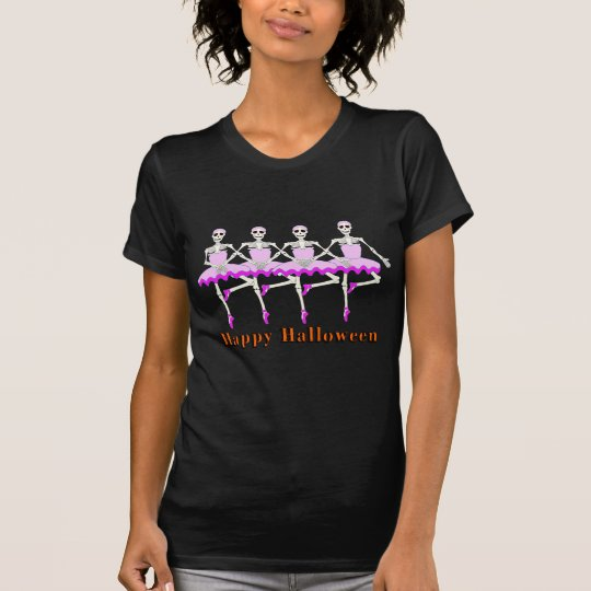 "Skeletons Dancing Ballet ""Happy Halloween"" T-Shirt"