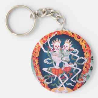 Skeletons Dancing Tibetan Buddhist Art Basic Round Button Keychain