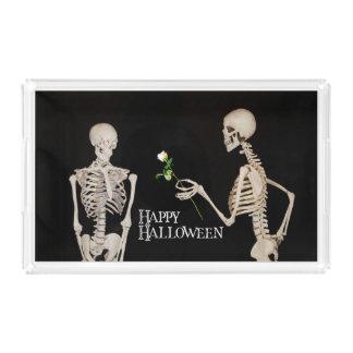 Skeletons Funny Romantic Happy Halloween Acrylic Tray