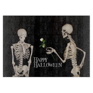 Skeletons Funny Romantic Happy Halloween Cutting Board