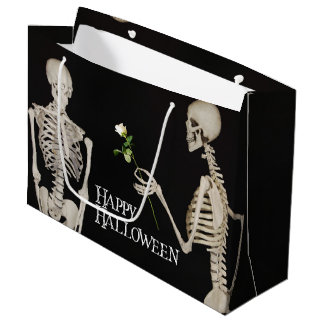 Skeletons Funny Romantic Happy Halloween Large Gift Bag