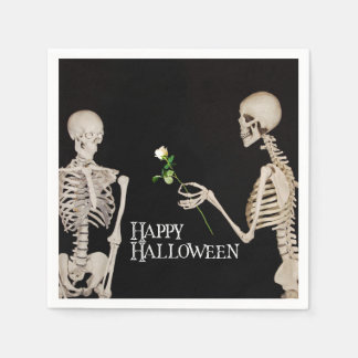 Skeletons Funny Romantic Happy Halloween Paper Napkins