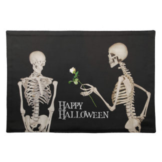Skeletons Funny Romantic Happy Halloween Placemat