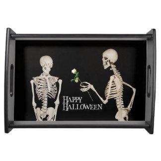 Skeletons Funny Romantic Happy Halloween Serving Tray
