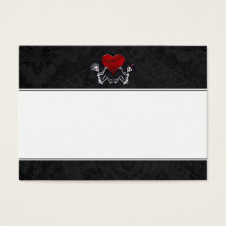 Skeletons Holding Red Heart BLANK Place Cards