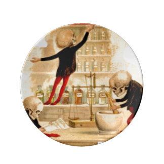 Skeletons Poison Drugs Pharmacist Halloween Magic Plate