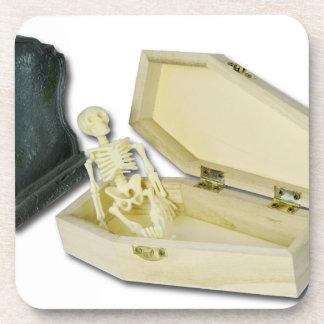 SkeletonSittingCoffinHeadstone070315 Drink Coaster