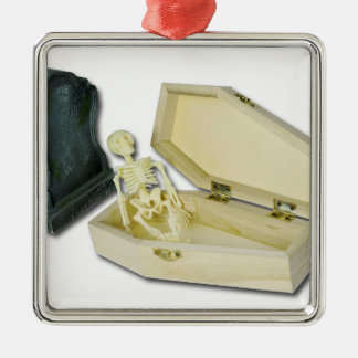 SkeletonSittingCoffinHeadstone070315 Silver-Colored Square Ornament