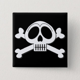 Skelly Basic Cute Skull and Crossbones 2 Inch Square Button