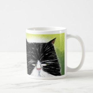 Skeptical cat basic white mug