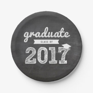 Sketch 2017 Chalkboard Grad Party Paper Plate 7 Inch Paper Plate