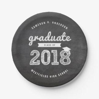 Sketch 2018 Chalkboard Grad Party Paper Plate