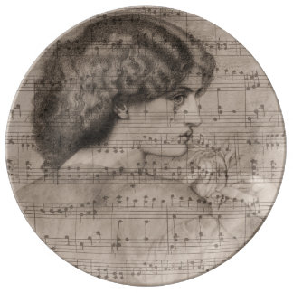 Sketch Classic Woman & Sheet Music Plate Porcelain Plates