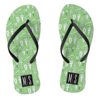Sketch Crocodile Pattern | Monogram Flip Flops