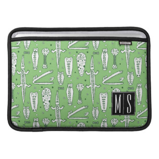 Sketch Crocodile Pattern | Monogram MacBook Air Sleeves
