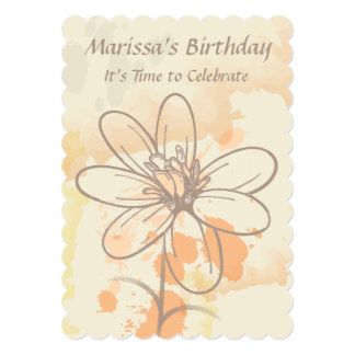 Sketch flower and watercolour Birthday invitations Custom Announcement
