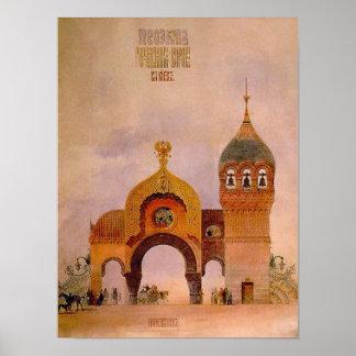 Sketch of a gate in Kiev Poster