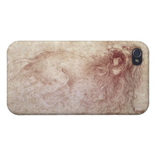 Sketch of a roaring lion (red chalk on paper) covers for iPhone 4