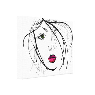Sketch of Beautiful Woman With Red Lipstick Canvas Print
