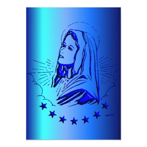 "Sketch of Blessed Virgin Mary in Blue 5"" X 7"" Invitation Card"