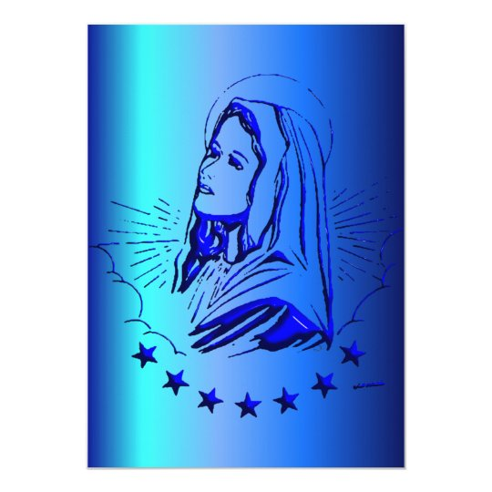Sketch of Blessed Virgin Mary in Blue Card