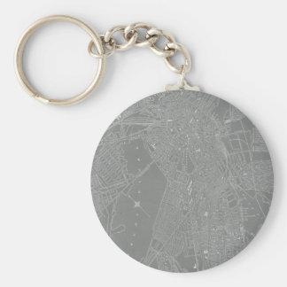 Sketch of Boston City Map Basic Round Button Keychain