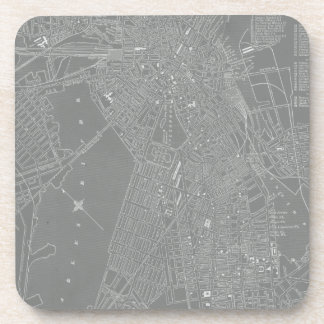 Sketch of Boston City Map Drink Coasters