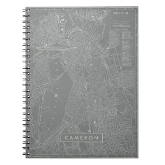 Sketch of Boston City Map Spiral Notebook