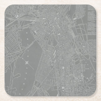 Sketch of Boston City Map Square Paper Coaster