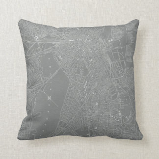 Sketch of Boston City Map Throw Pillow