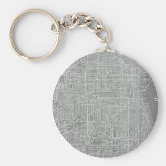Sketch of Chicago City Map Basic Round Button Keychain
