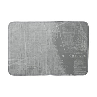Sketch of Chicago City Map Bathroom Mat