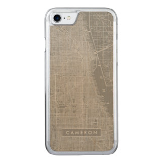 Sketch of Chicago City Map Carved iPhone 8/7 Case