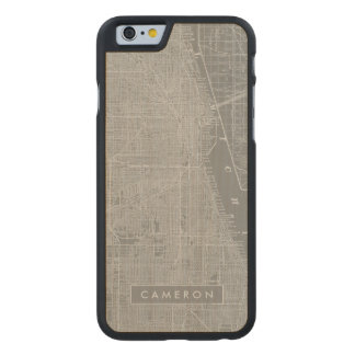Sketch of Chicago City Map Carved Maple iPhone 6 Case