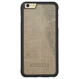 Sketch of Chicago City Map Carved Maple iPhone 6 Plus Bumper Case