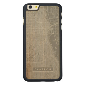 Sketch of Chicago City Map Carved® Maple iPhone 6 Plus Case