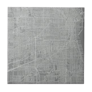 Sketch of Chicago City Map Ceramic Tiles