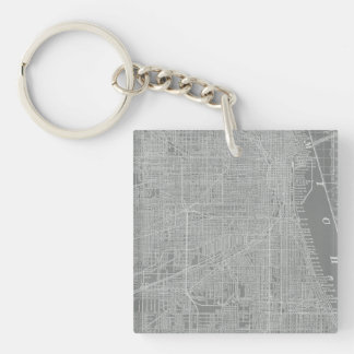 Sketch of Chicago City Map Double-Sided Square Acrylic Keychain