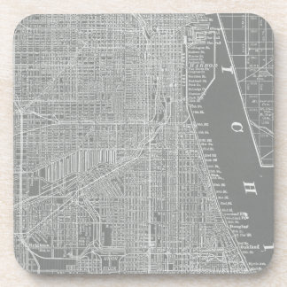 Sketch of Chicago City Map Drink Coaster